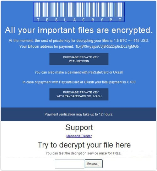 GUI for the TeslaCrypt decryption and payment service
