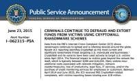 FBI report on ransomware