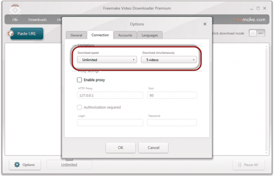 Freemake Video Downloader: Connection-settings