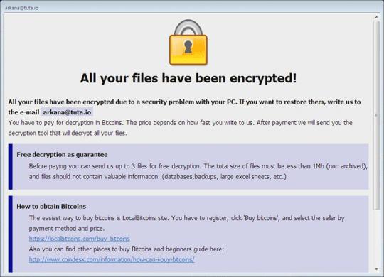 BTCWare .wallet variant displays this HTA ransom note