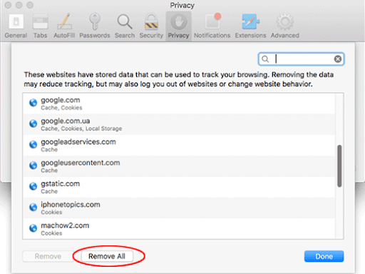 Remove all site data in Safari