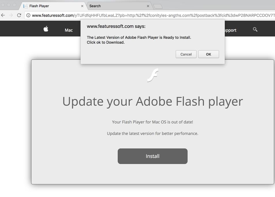 Fabricated Adobe Flash Player update pop-up spreading Akamaihd.net threat
