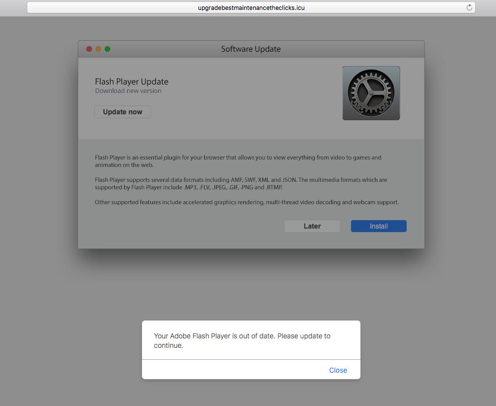 Fake Adobe Flash Player update alert