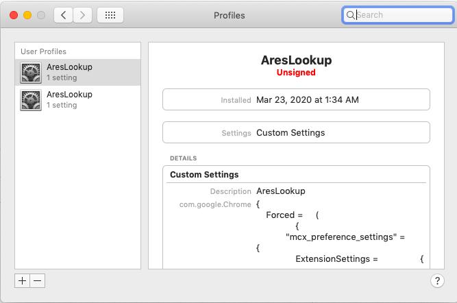 Malicious user profile on Mac
