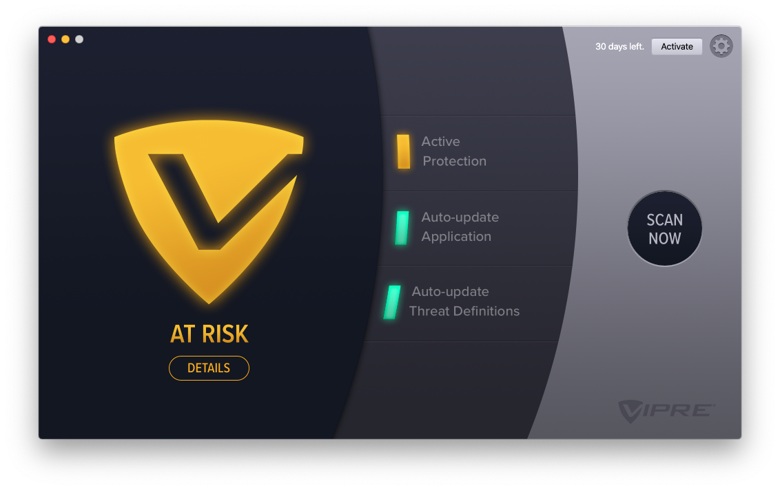 Mac version of VIPRE Advanced Security – Active Protection disabled