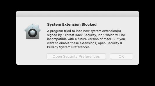 System Extension Blocked alert on Mac