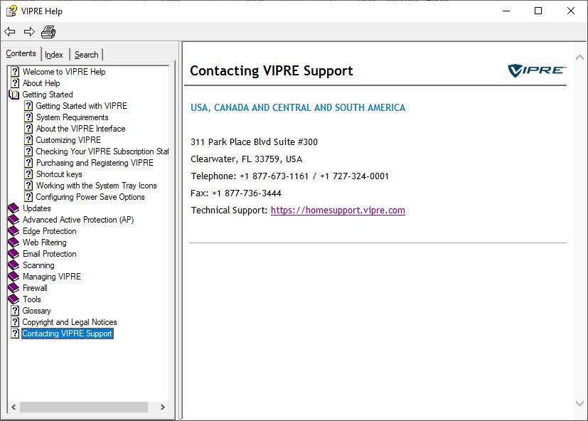 VIPRE Help tool