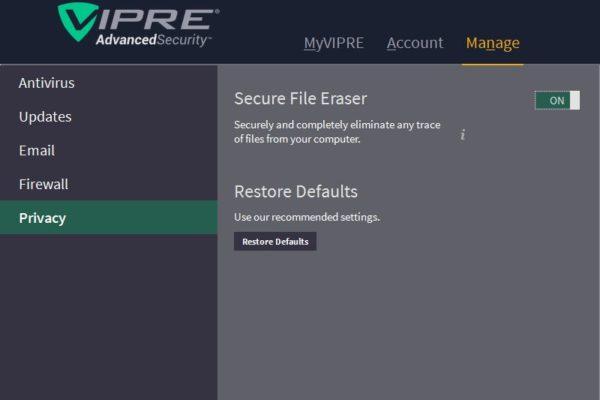 vipre-privacy-controls