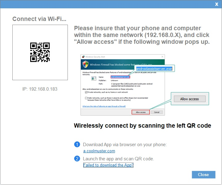 Connecting via Wi-Fi